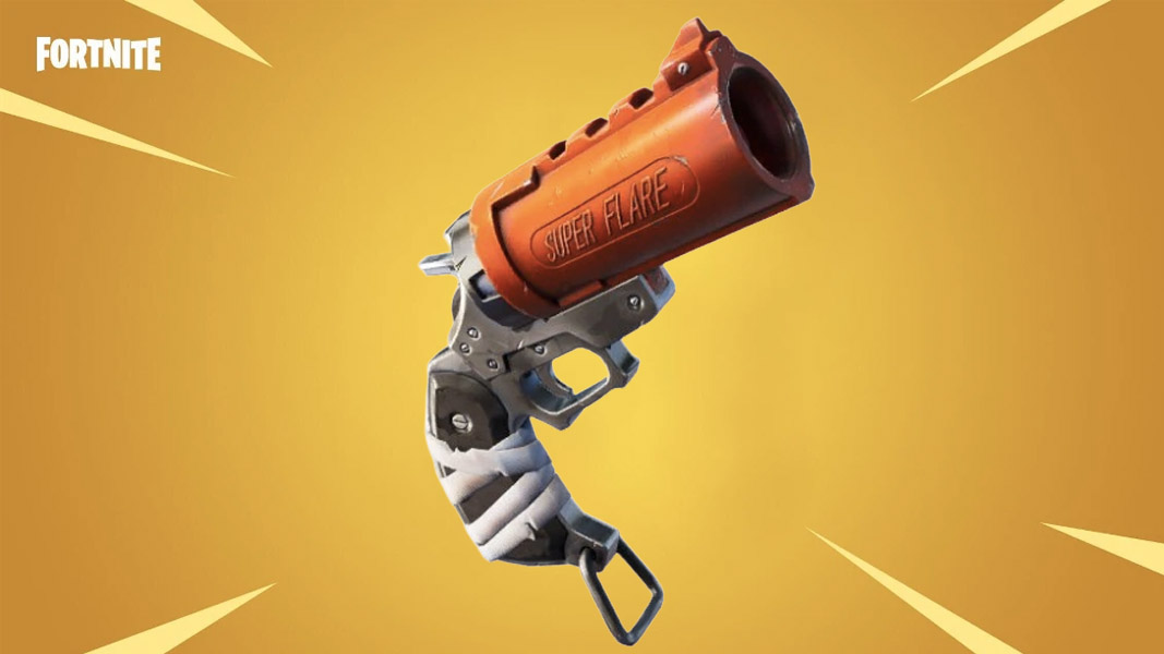 Fortnite's flare gun on the gold new item background