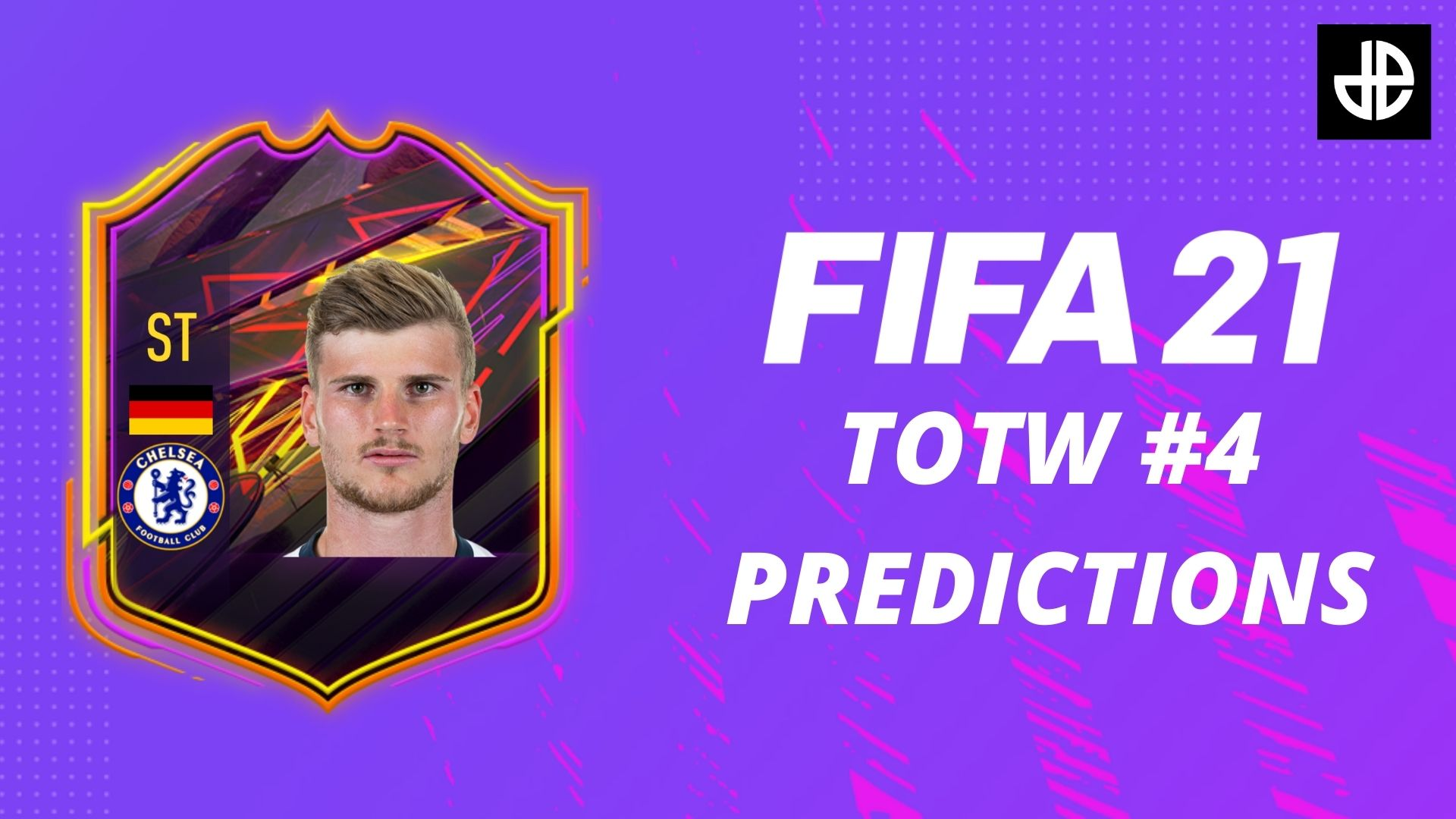 Timo Werner OTW FIFA 21 card with a purple background