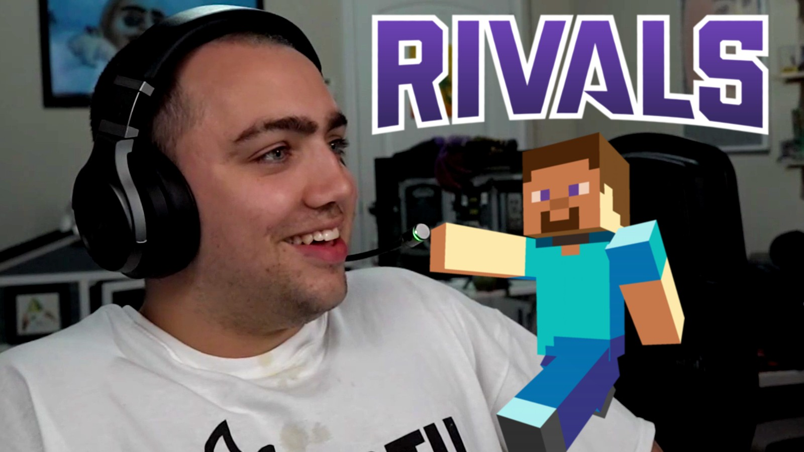 Mizkif next to the Twitch rivals logo and Minecraft's Steve