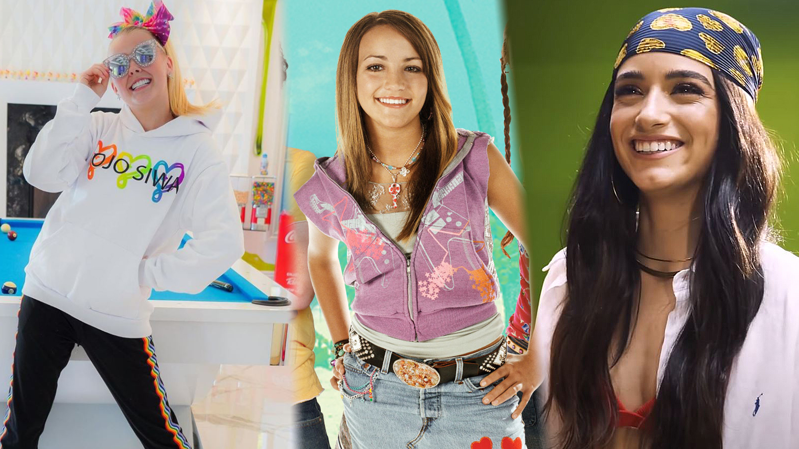 JoJo Siwa and Dixie D'Amelio surround a photo of Jamie Lynn Spears as she appears in Zoey 101.