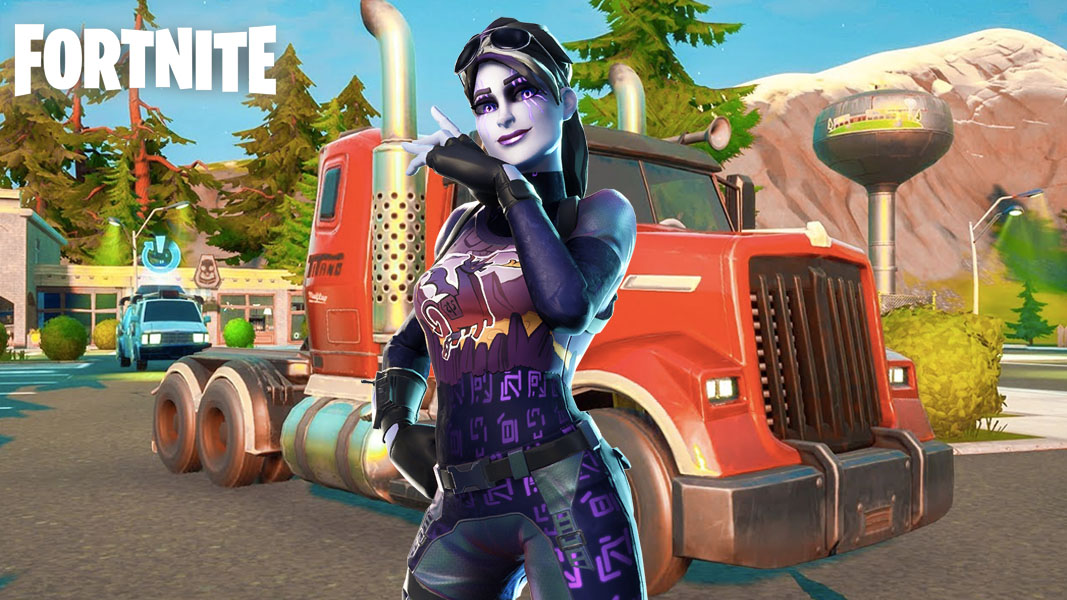 Fortnite character standing by a truck