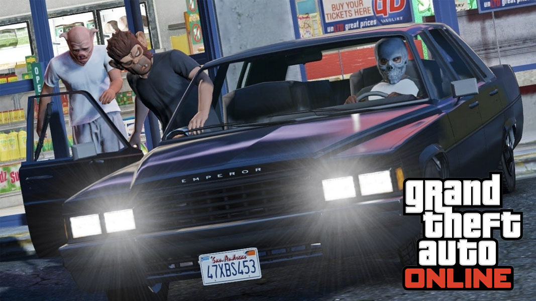 Masked GTA Online characters getting into a car