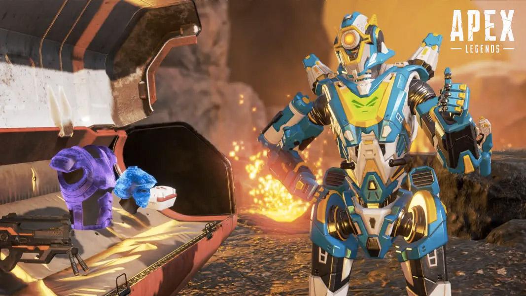 Pathfinder stood next to an open supply bin in Apex Legends