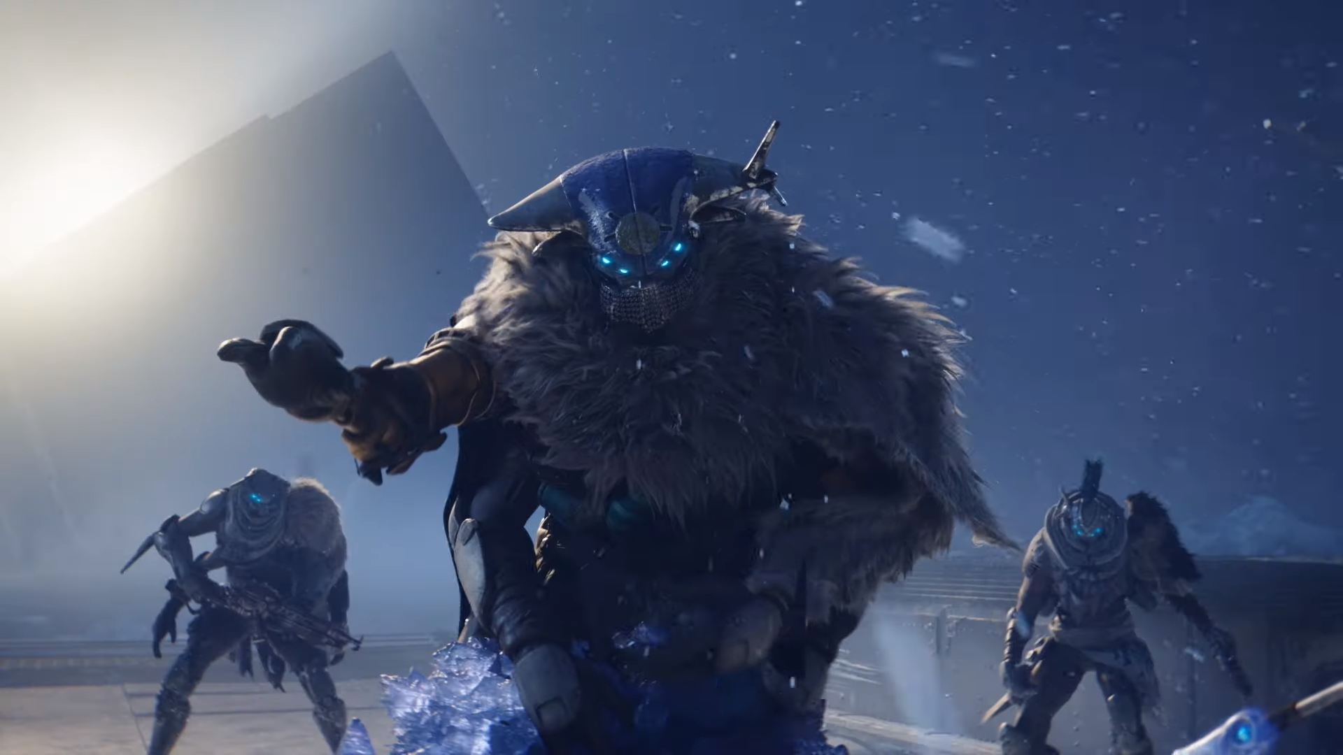 Three characters look at in the screen in Destiny 2: Beyond Light