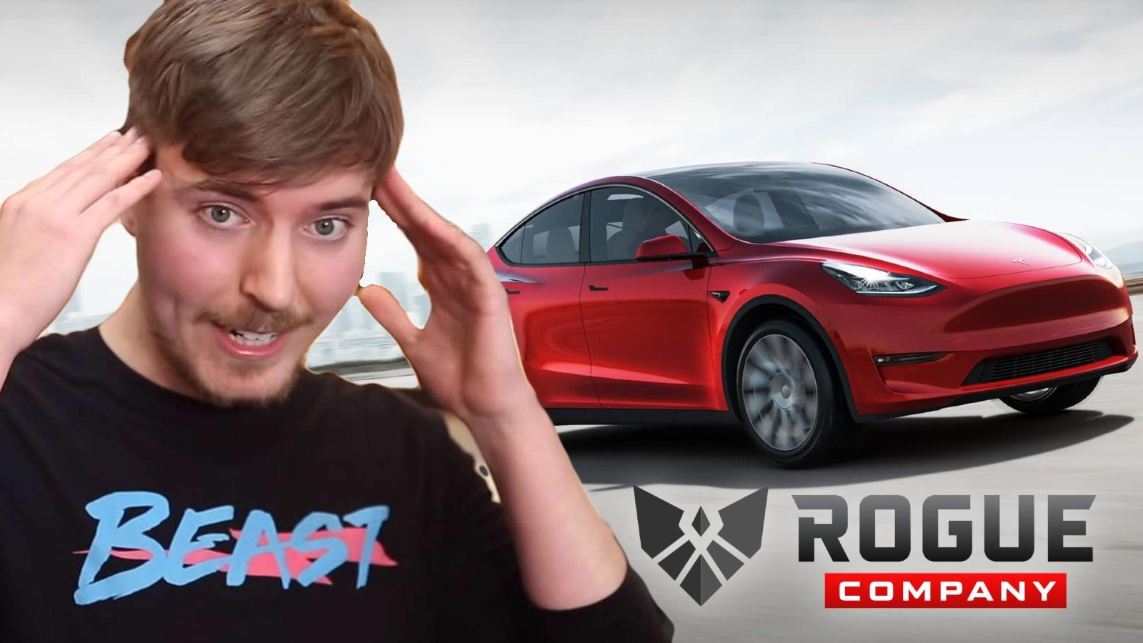 Mr Beast gives away free Tesla for Rogue Company wins