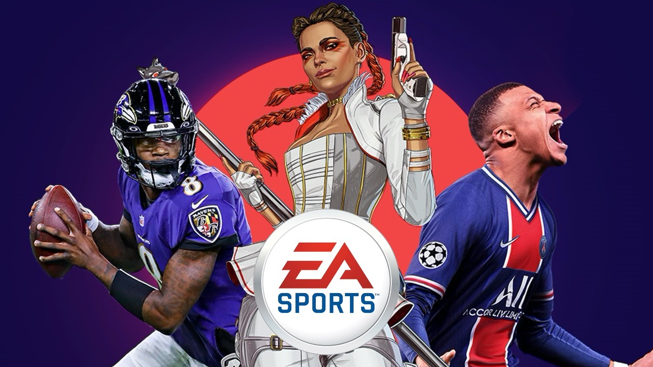 Various EA characters surrounding the EA logo