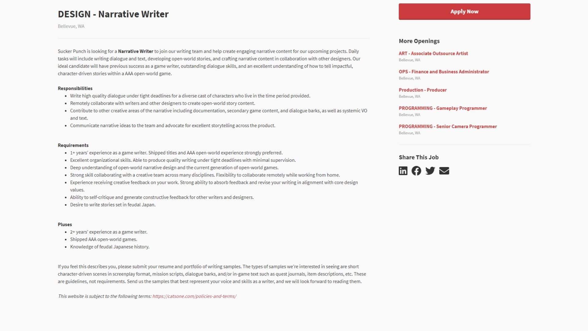 Job listing for Sucker Punch Narrative Writer job