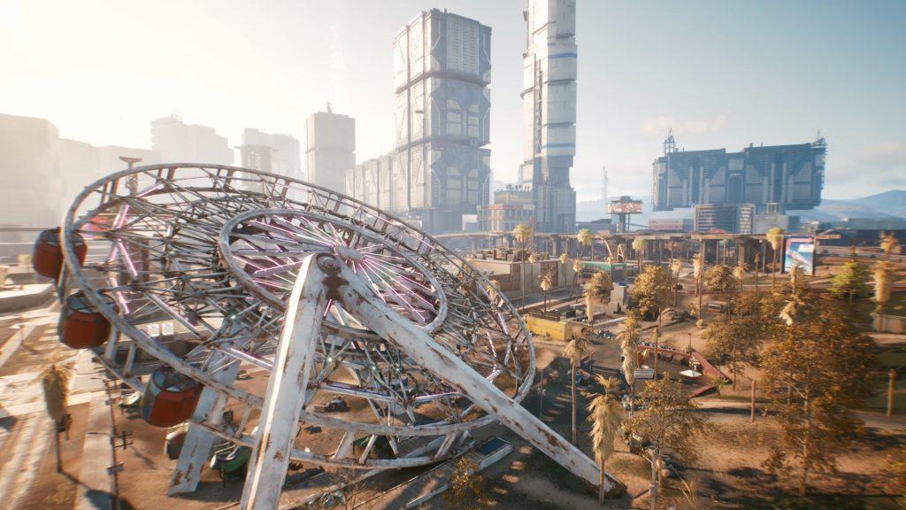 A fallen over Ferris Wheel in Cyberpunk 2077