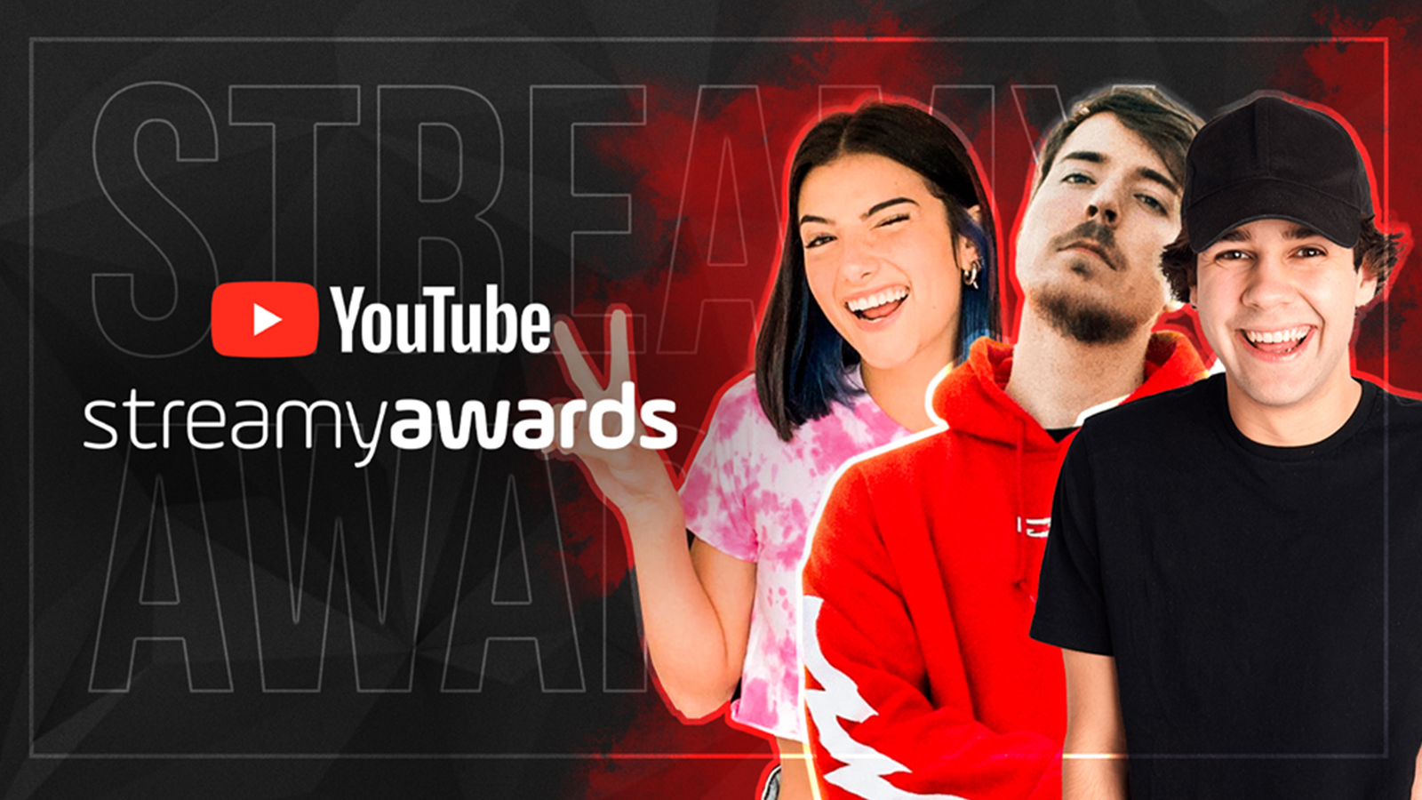 Mr Beast, David Dobrik, and Charli D'Amelio pose on a graphic featuring the Streamy Awards logo.