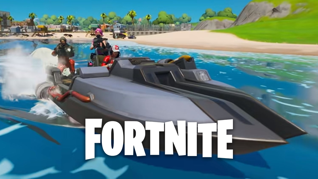 Fortnite players driving boat