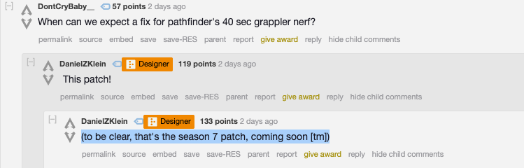 Screenshot of Reddit comments