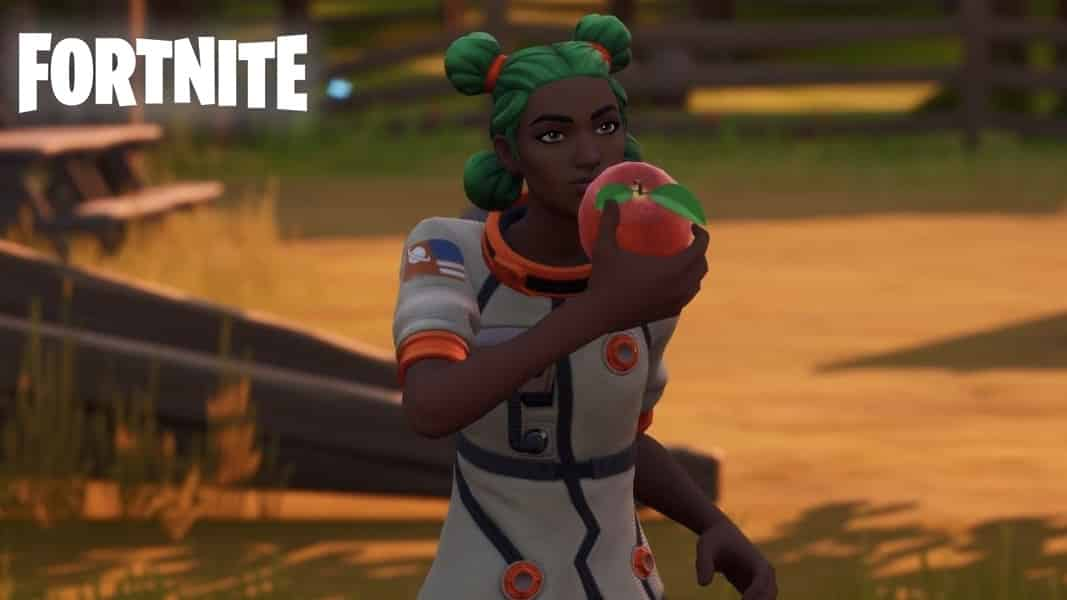 Fortnite character eating an apple in weeping woods