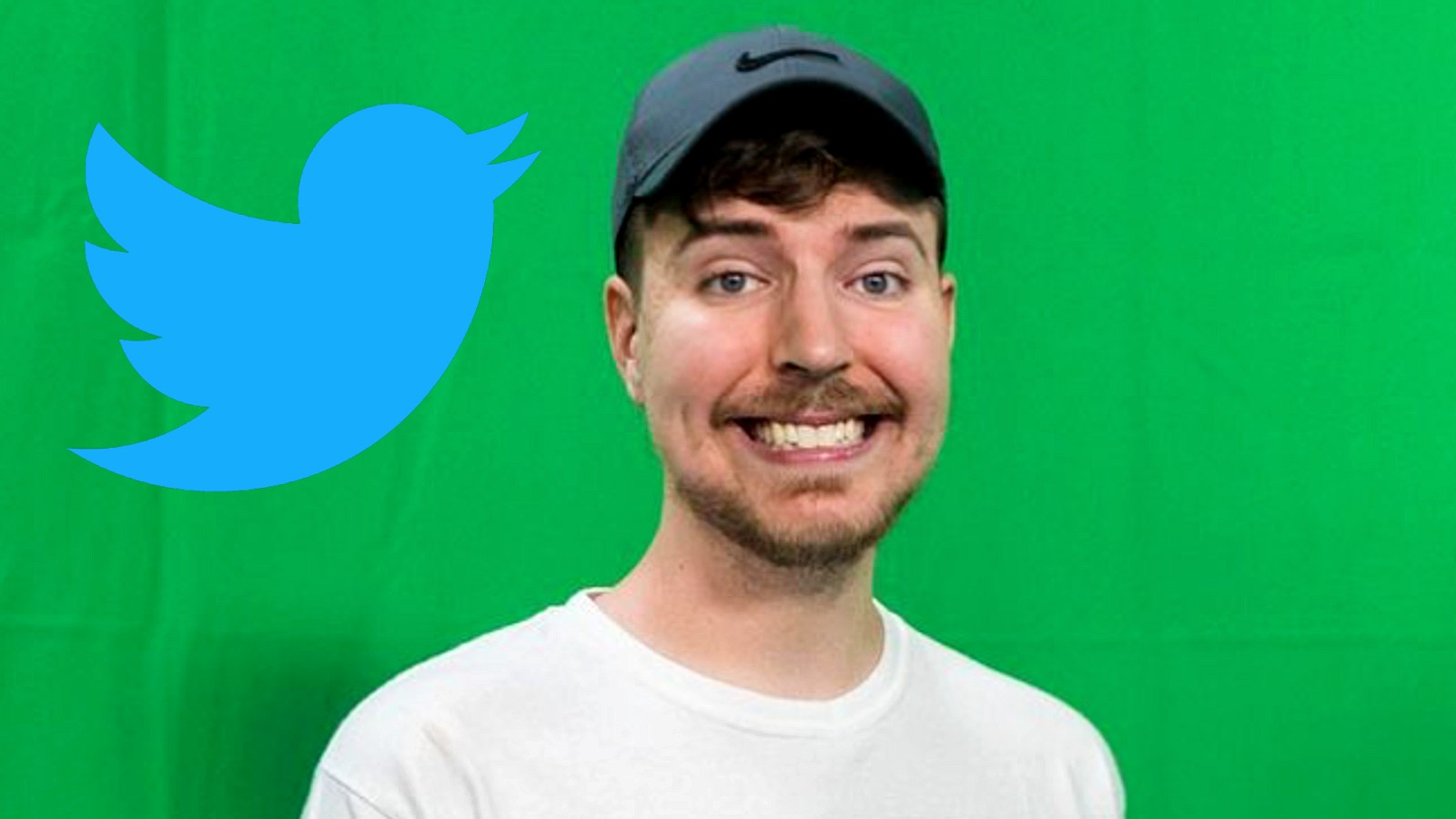 Mr Beast in front of a green screen next to the Twitter logo