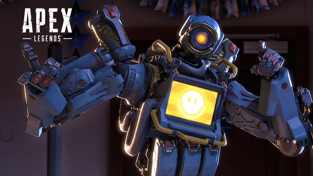 Pathfinder with a blue skin and yellow screen next to the apex legends logo