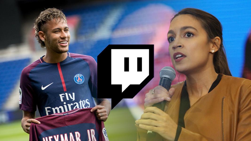 Neymar and AOC next to Twitch logo