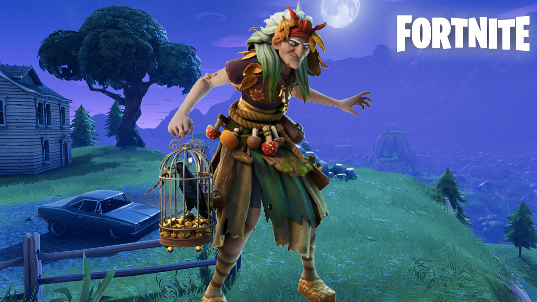 Fortnite's baba yaga skin against a dark background