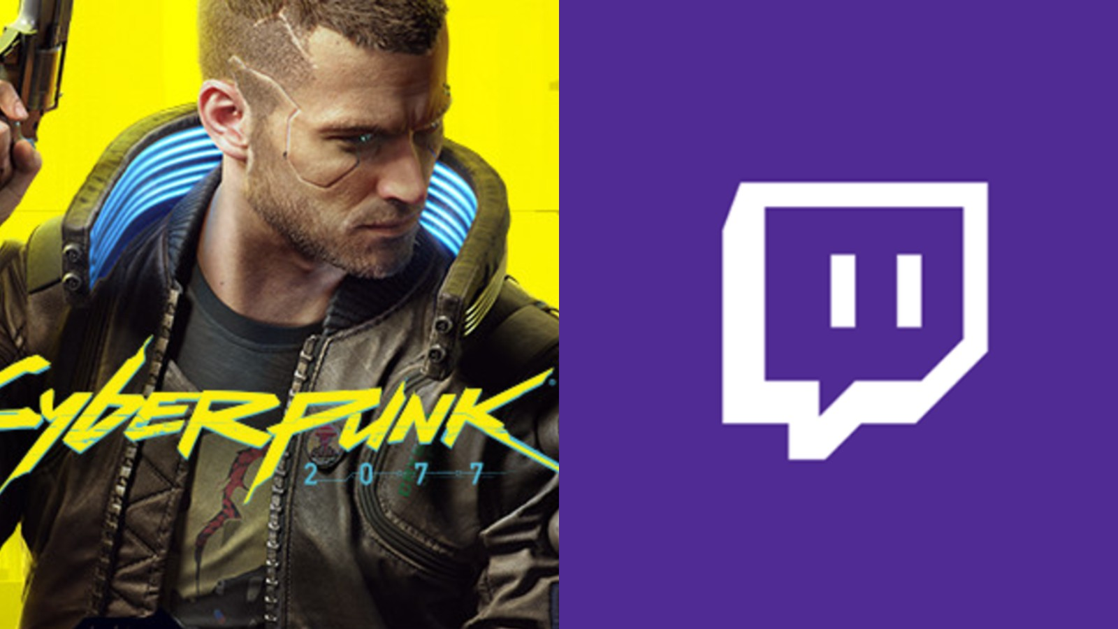 Cyberpunk 2077 art next to Twitch logo