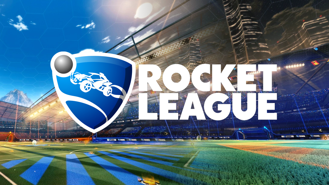 Rocket League Mannfield and DFH Stadium with logo on top
