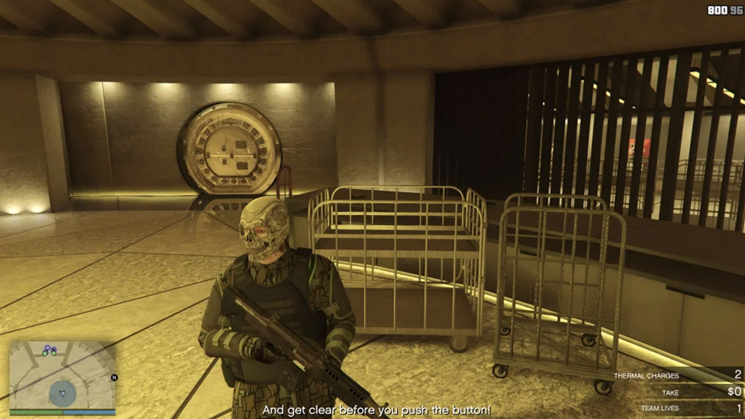 GTA Online character stood inside the vault by their self
