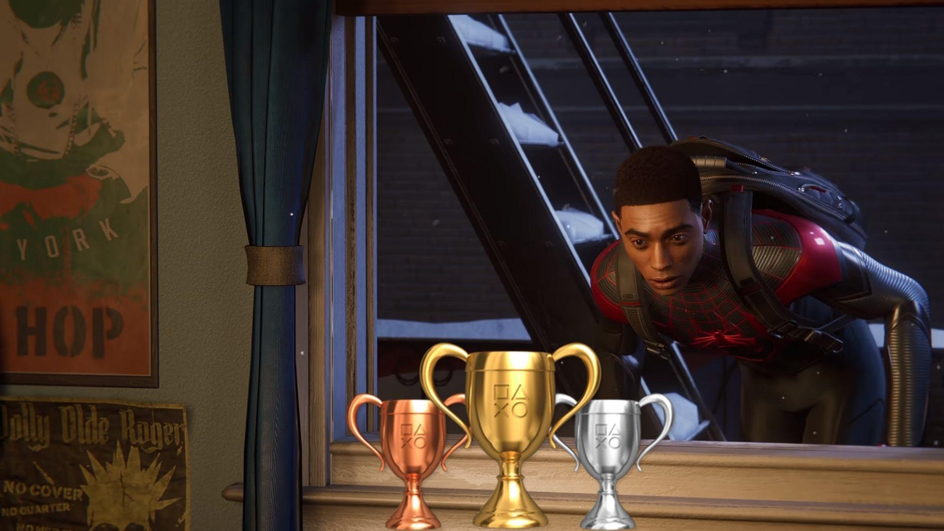 Miles Morales looking at trophies in Spider-Man: Miles Morales