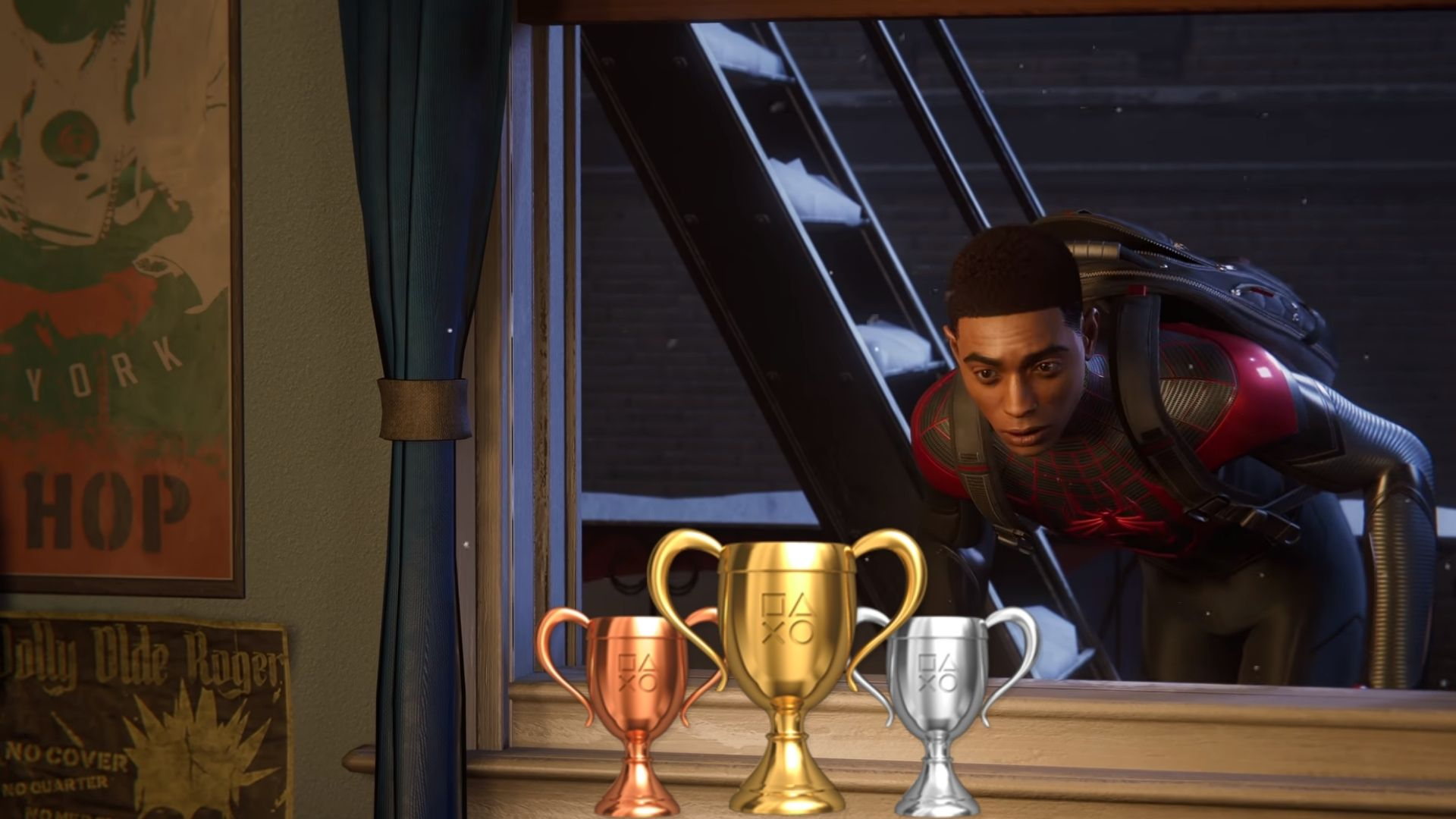 Miles Morales looking at trophies in Spider-Man: Miles Morales