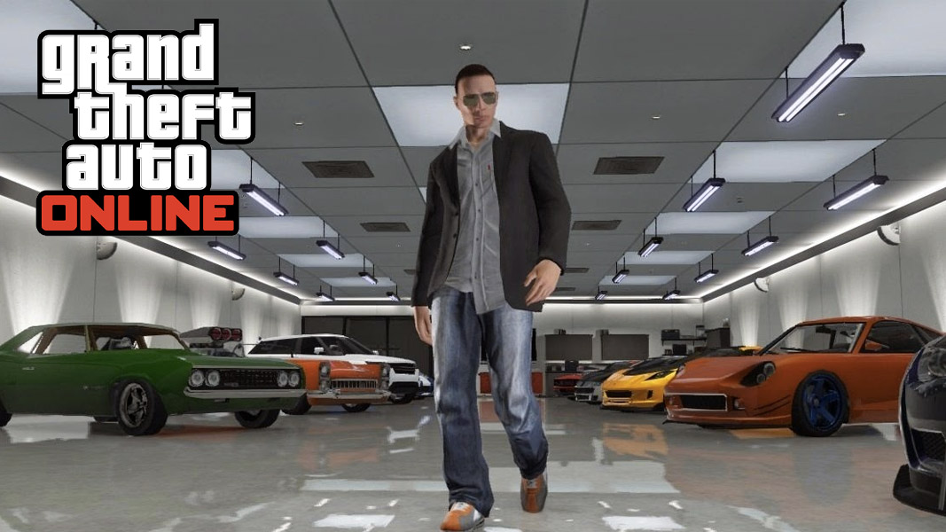 GTA online character walking around a garage