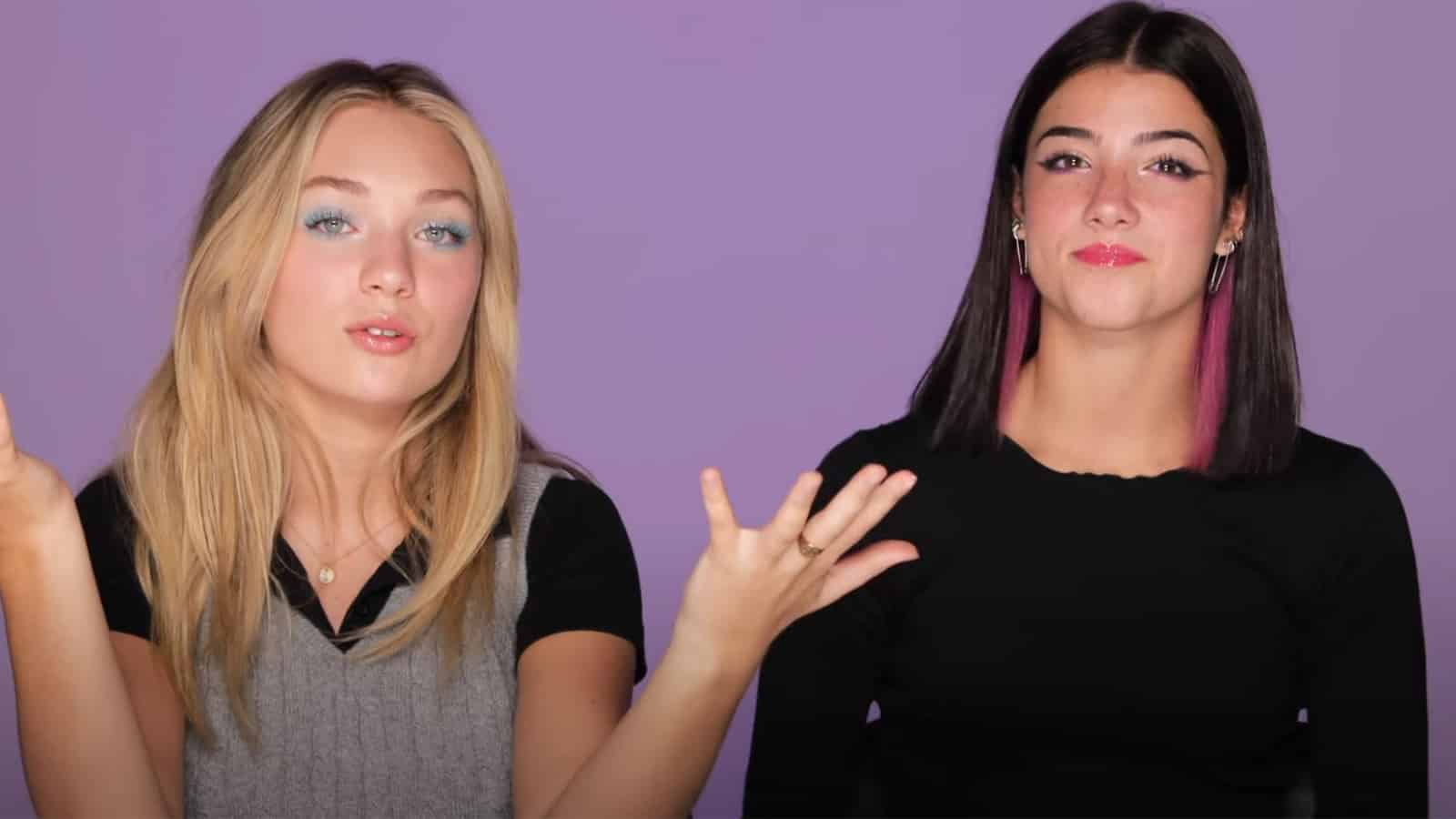 Charli D'Amelio and Maddie Ziegler show off their makeup for the camera.