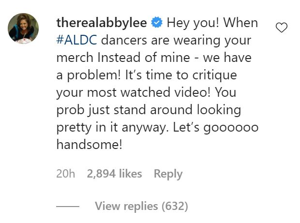 Abby Lee Miller calls out Noah Beck in an Instagram comment.