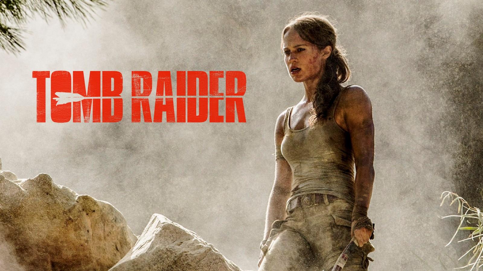 Lara Croft with the Tomb Raider logo