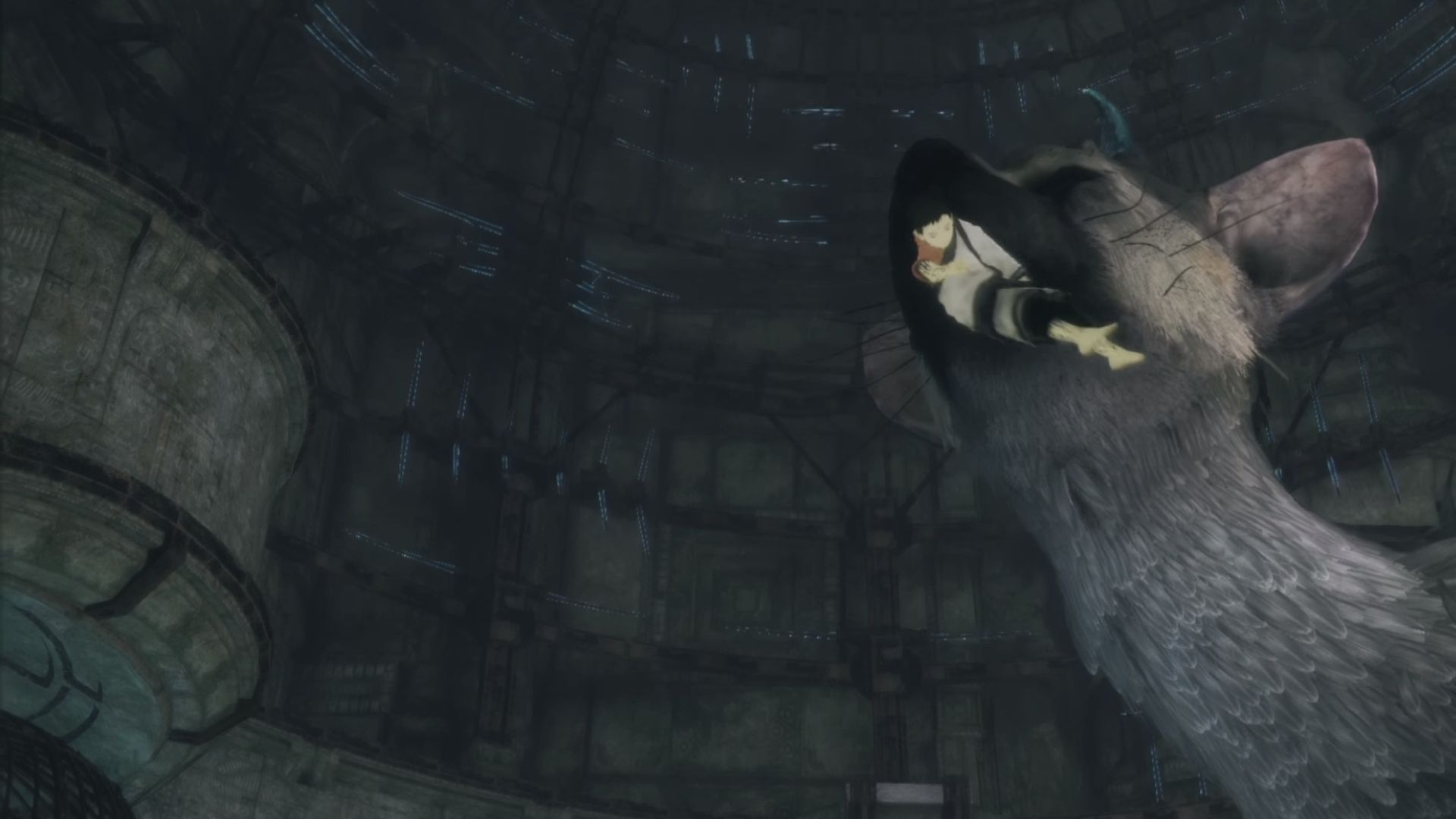 Trico biting the boy in the last guardian
