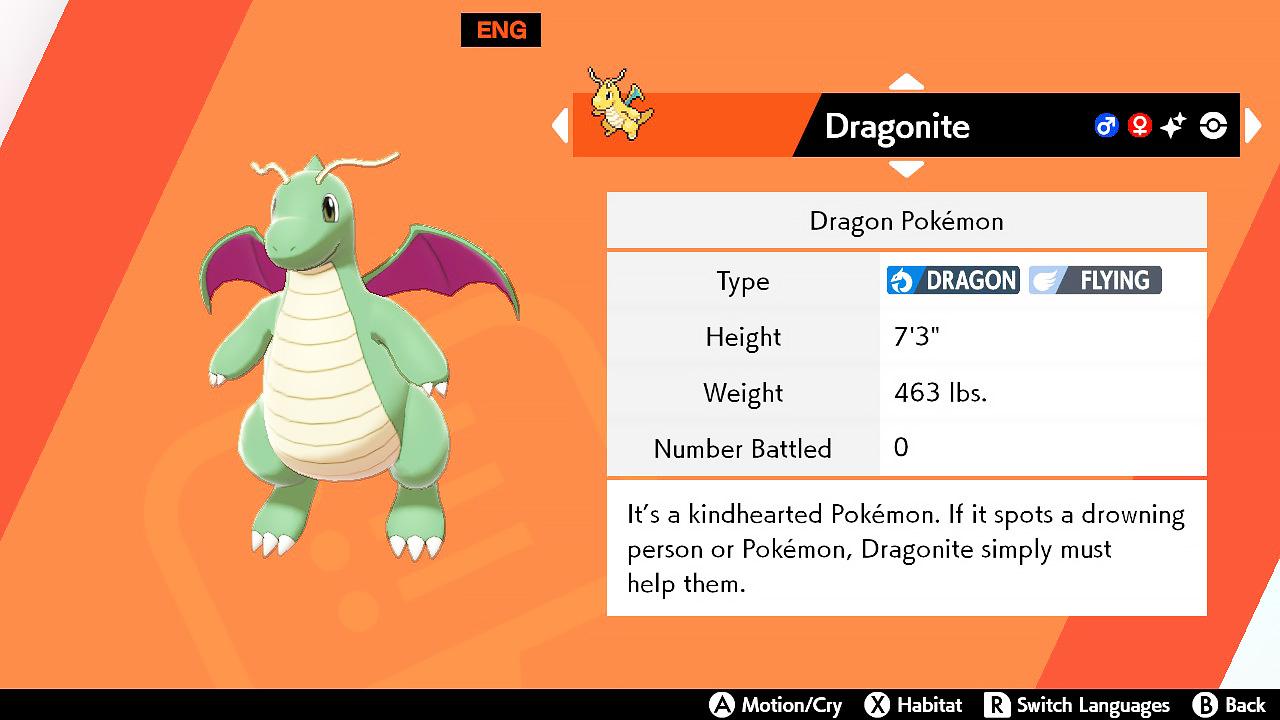 dragonite pokedex entry