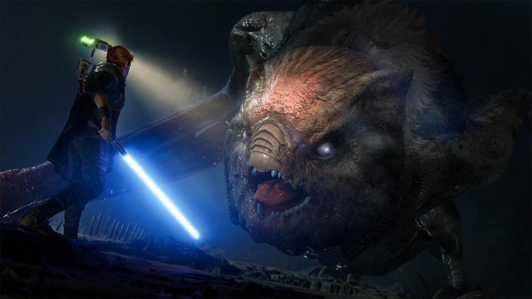 Jedi with a lightsaber