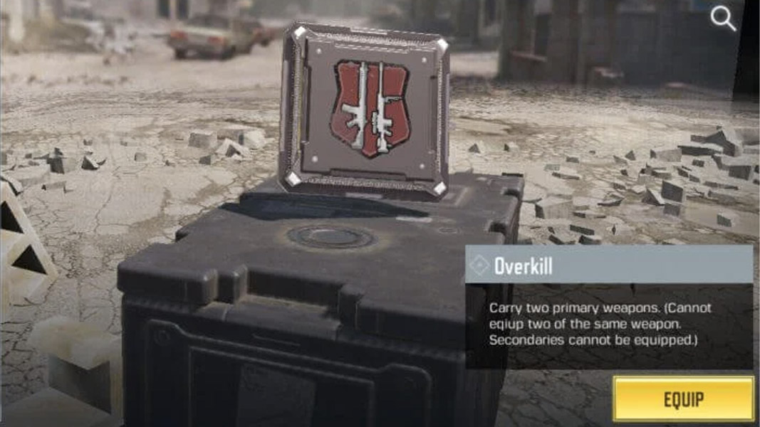 Overkill perk in the CoD mobile create a class screen