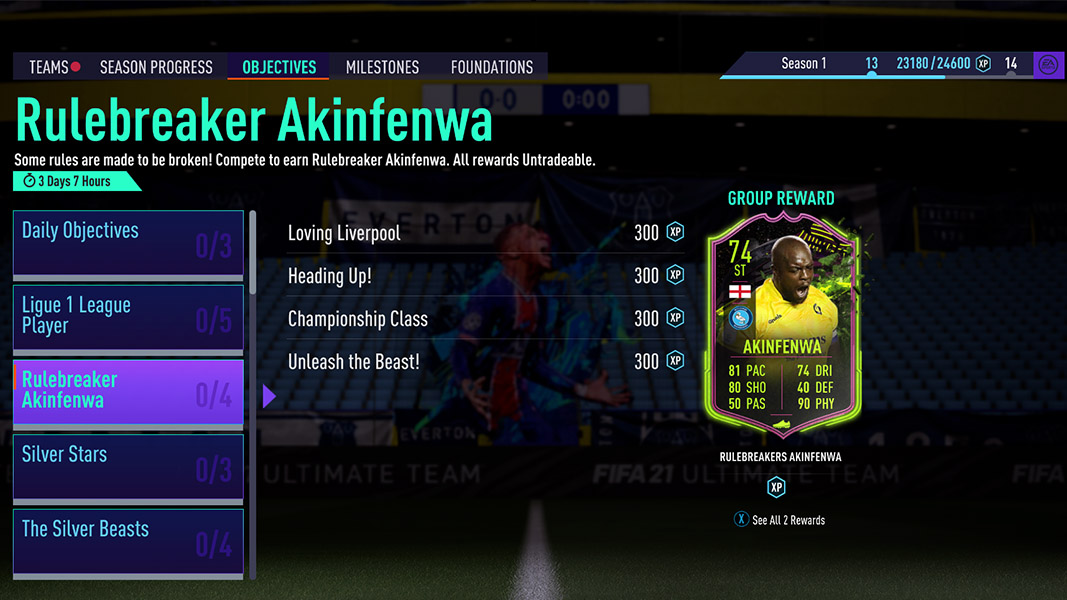 Screenshot of Akinfenwa's rulebreakers objectives in FIFA