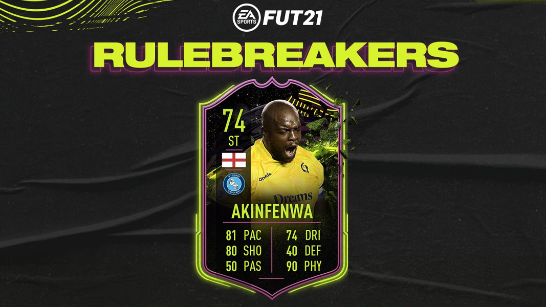 Akinfenwa card with the Rulebreakers promo background and logo