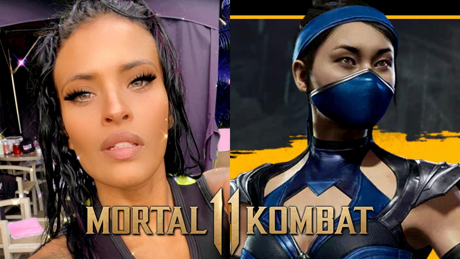 Zelina Vega next to Kitana from Mortal Kombat