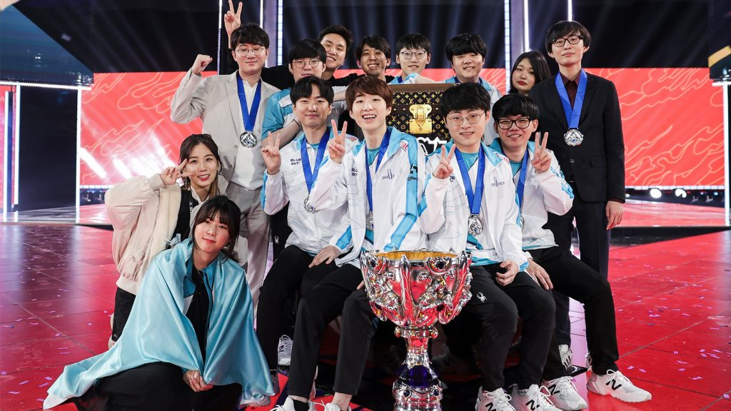 Damwon with Summoner's Cup after winning LoL Worlds 2020