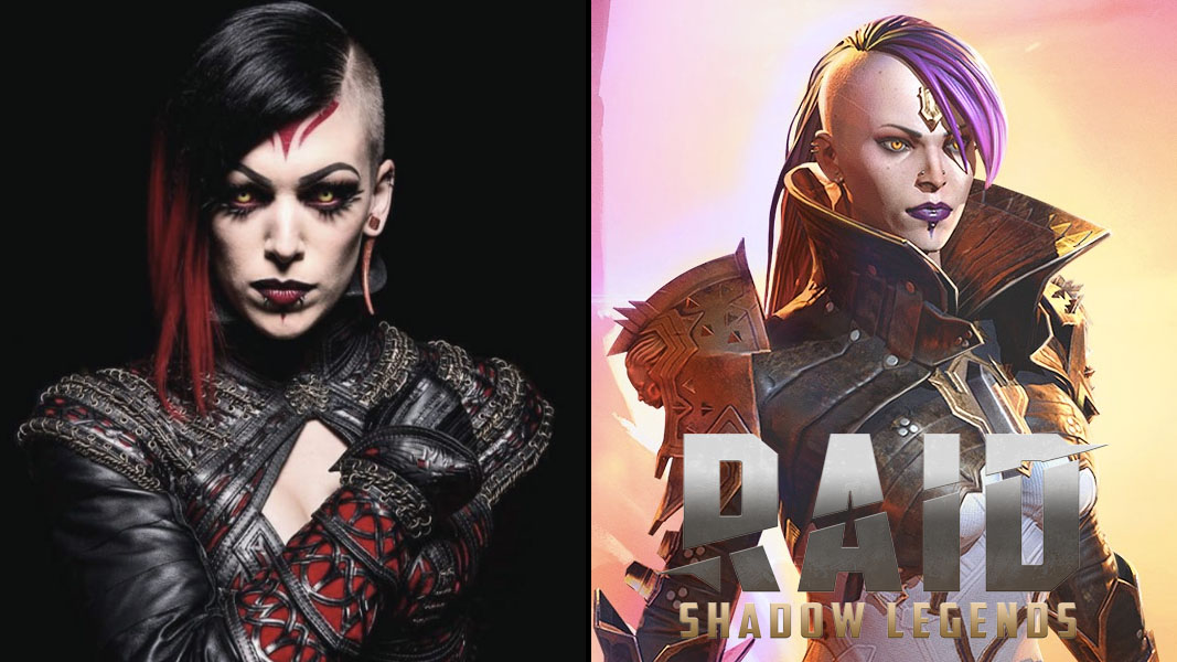 Side by side image of a cosplay and a Raid: Shadow Legends character