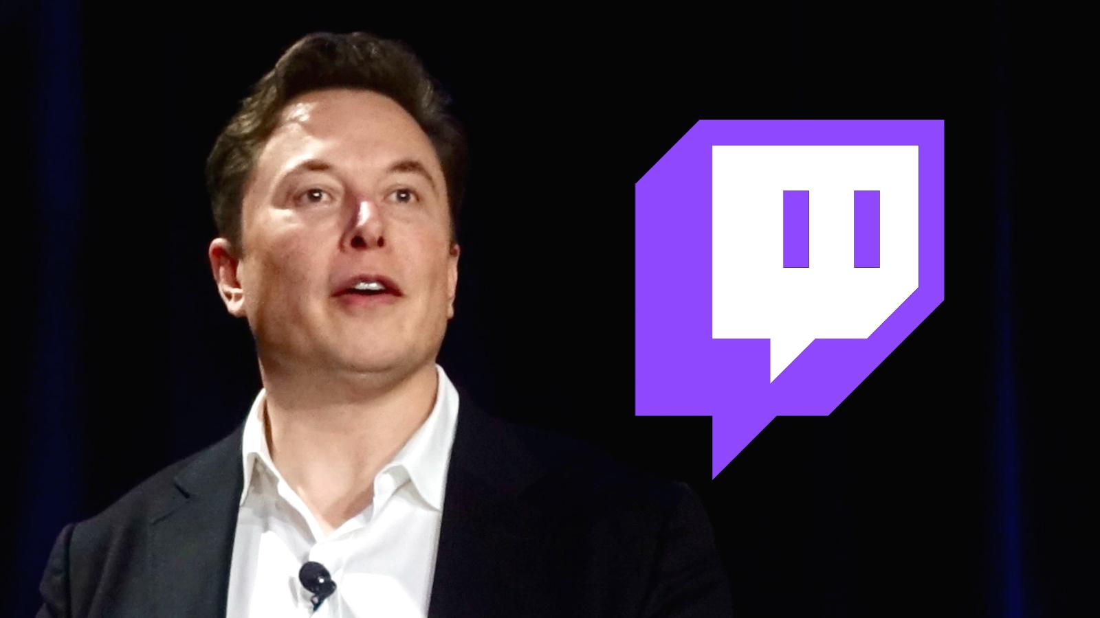 Elon Musk with Twitch logo