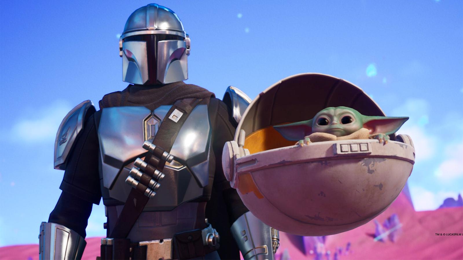 Mandalorian and Baby Yoda in Fortnite