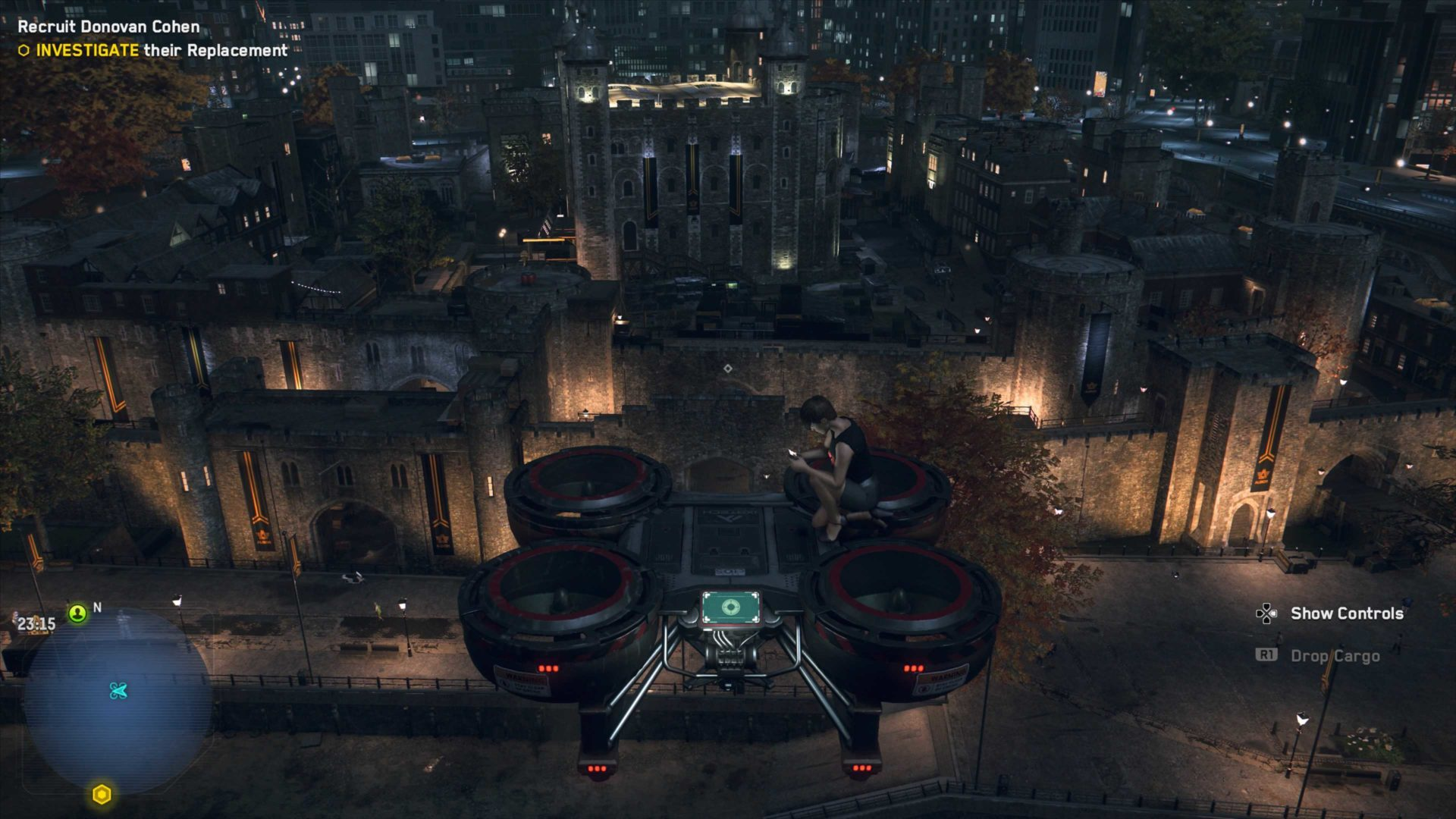 riding a cargo drone in watch dogs legion