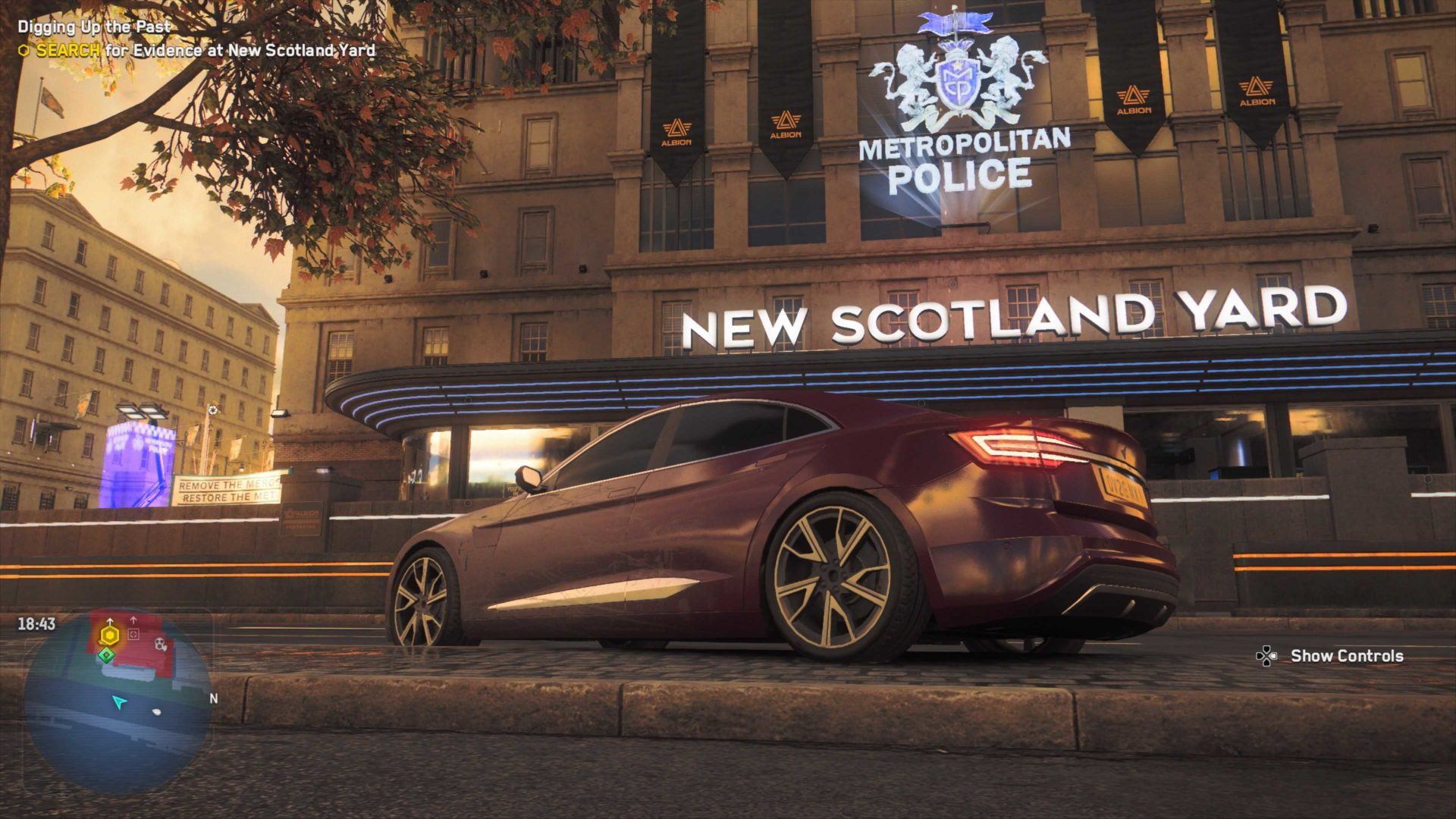 a car outside scotland yard in watch dogs legion