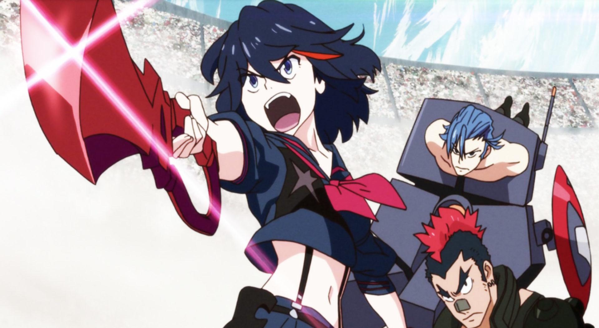 ryuko matoi holding her scissor blade in kill la kill