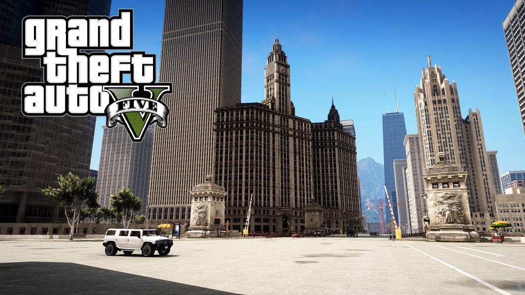 Chicago with the GTA V logo