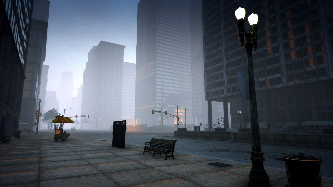Chicago in GTA v with fog and clouds