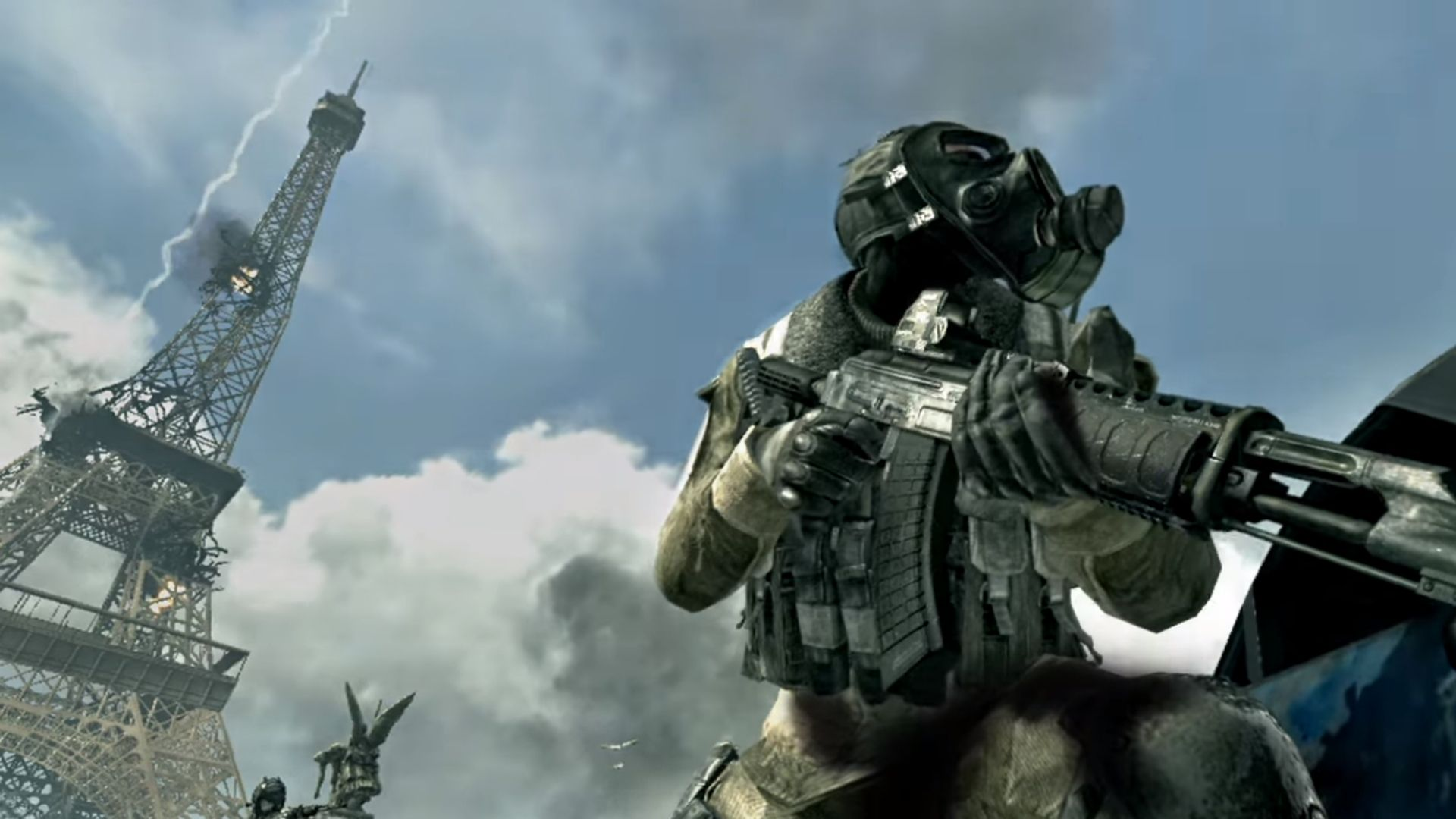 an enemy in front of the Eiffel tower in call of duty modern warfare 3