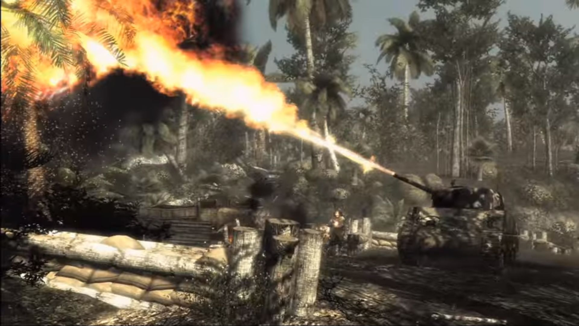 a tank burning a tree in cod world at war
