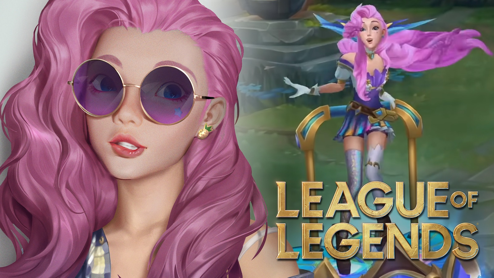 Seraphine selfie in front of in-game League of Legends model.