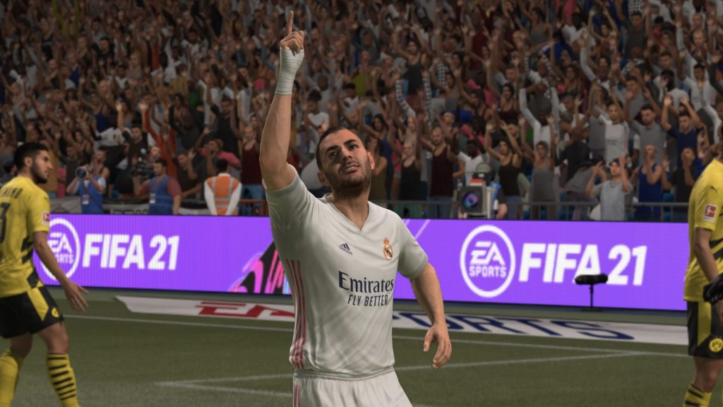 Karim Benzema points to sky in FIFA 21 Ultimate Team match.