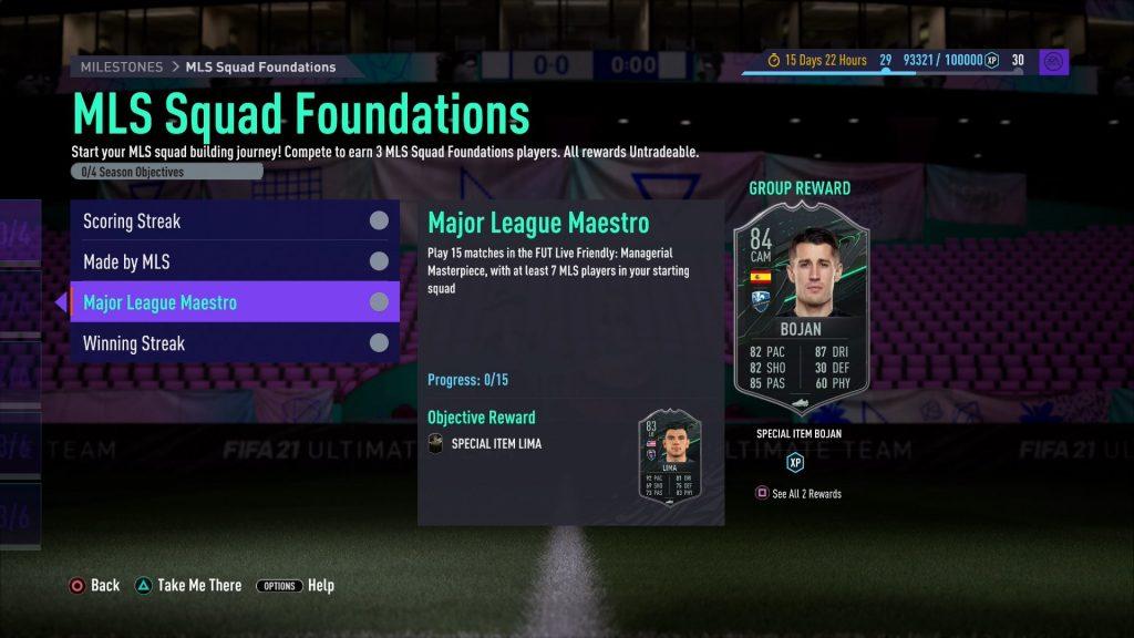 FIFA 21 MLS Squad Foundations objective